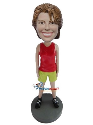 Custom Bobble Head | Red Tank Top Casual Female Bobblehead | Gift Ideas For Women