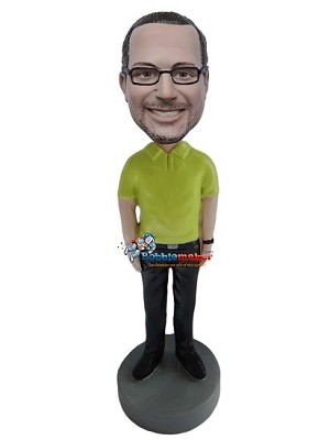 Casual Male In Yellow Polo bobblehead Doll