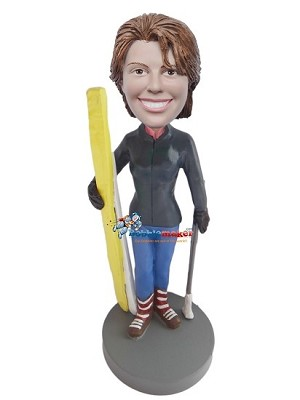Custom Bobble Head | Female With Skis And Poles Bobblehead | Gift Ideas For Women