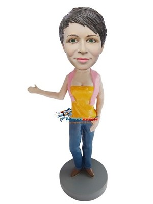 Arm Out Casual Female bobblehead Doll