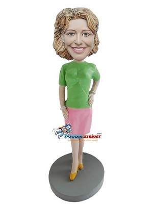 Pink Skirt Executive Female bobblehead Doll