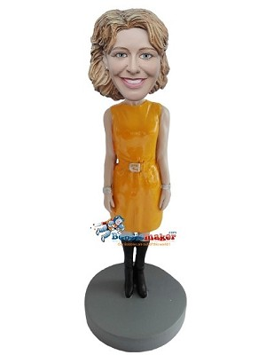 Custom Bobble Head | Yellow Dress Executive Female Bobblehead | Gift Ideas For Women