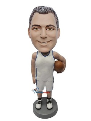 Man Holding Basketball In Uniform bobblehead Doll