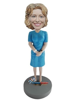 Blue Dress Businesswoman bobblehead Doll