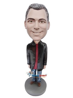Long Black Jacket Casual Male bobblehead Doll