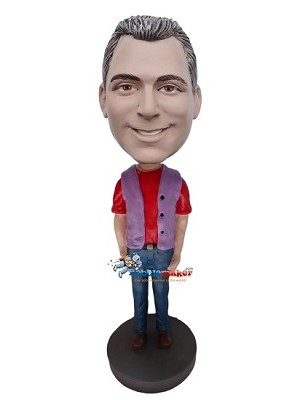 Custom Bobble Head | Purple Vest Casual Male Bobblehead | Gift For Men