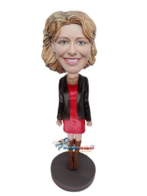 Black Blazer Professional Woman bobblehead Doll