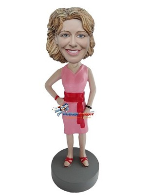 Pink Dress Casual Female bobblehead Doll