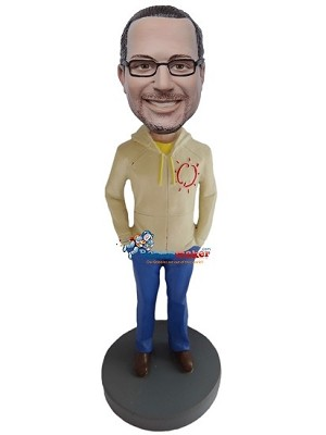Custom Bobble Head | Hoodie And Blue Jeans Male Bobblehead | Gift For Men