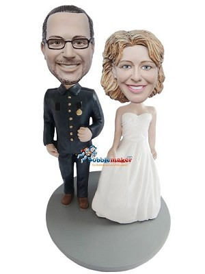 Military Wedding Couple bobblehead Doll