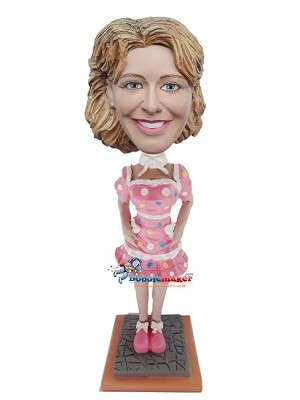 Sexy Polka Dot Dress Woman bobblehead Doll