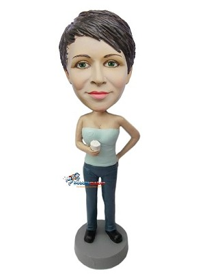 Casual Female With Mug bobblehead Doll