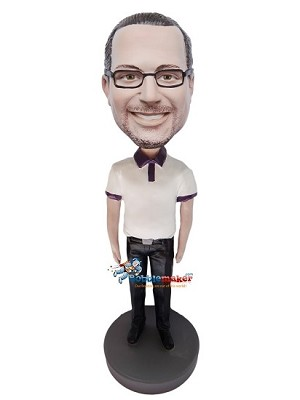 Custom Bobble Head | Black And White Polo Shirt Man Bobblehead | Gift For Men