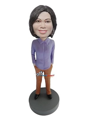 Hands In Pockets Professional Woman bobblehead Doll