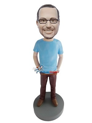 Custom Bobble Head | Blue T-Shirt Male Custom Bobblehead | Gift For Men