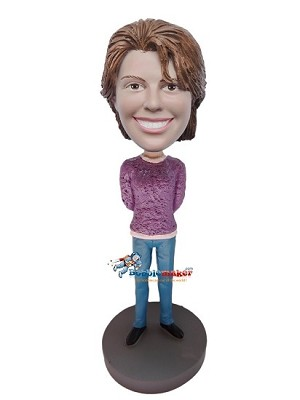 Custom Bobble Head | Hands Behind Back Female Bobblehead | Gift Ideas For Women