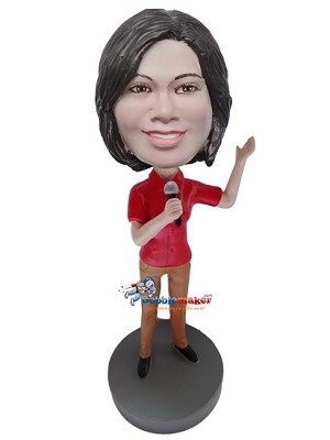 Custom Bobble Head | Red Shirt Female Singer Bobblehead | Gift Ideas For Women