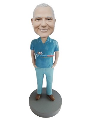 Custom Bobble Head | Blue On Blue Casual Male Bobblehead | Gift For Men