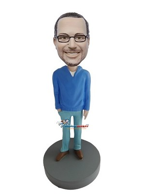 Blue Sweater Casual Male bobblehead Doll