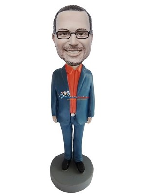 Man In Suit With Orange Shirt bobblehead Doll