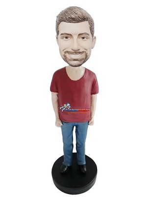Red Open Neck T-Shirt Man bobblehead Doll