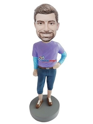 Feminine Pose And Clothes Male bobblehead Doll