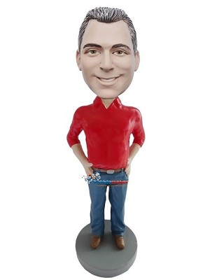 Custom Bobble Head | Red Polo Shirt Tucked In Man Bobblehead | Gift For Men
