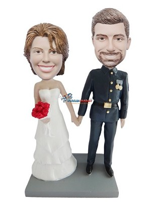 Military Man And Bride bobblehead Doll