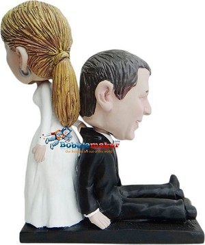 Custom Bobble Head | Bride Drags Groom To Altar Bobblehead | Gift Ideas For Wedding