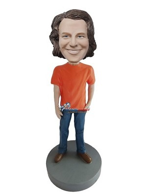 Orange T-Shirt Casual Male bobblehead Doll