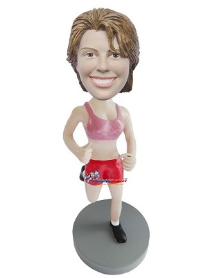 Custom Bobble Head | Running Woman In Sports Bra Custom Bobblehead | Gift Ideas For Women