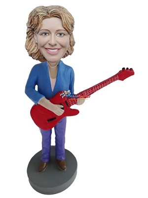 Custom Bobblehead | Woman With Electric Guitar Bobblehead