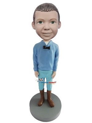 Casual Blue Male With Boots bobblehead Doll