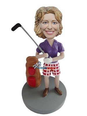 Golfing Female In Checkered Shorts bobblehead Doll