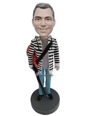 Hoodie Man With Acoustic Guitar bobblehead Doll