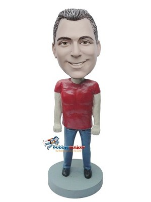 Custom Bobble Head | Red T-Shirt And Jeans Male Bobblehead | Gift For Men