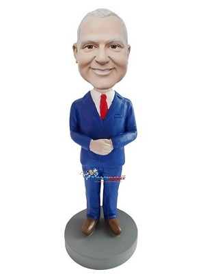 Custom Bobble Head | Executive Male In Blue Suit Bobblehead | Gift Ideas For Men