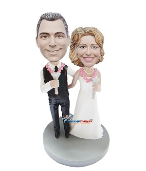Wedding Couple Making Toast bobblehead Doll