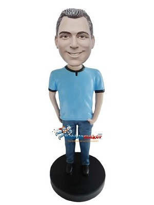 Hands In Pockets Blue T-Shirt Casual Male bobblehead Doll