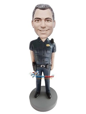 Police Officer With Walkie Talkie bobblehead Doll
