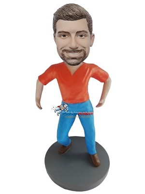 Custom Bobblehead | At Ready Casual Male Bobblehead