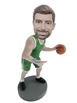 Green Uniform Basketball Player bobblehead Doll