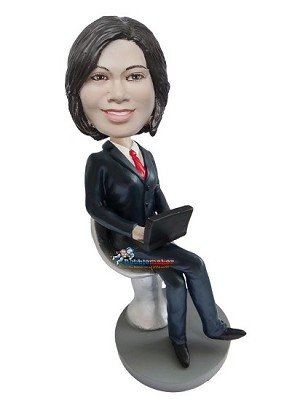 Office Woman On Lap Top bobblehead Doll