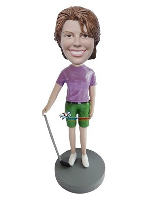 Golfing Woman With Club bobblehead Doll