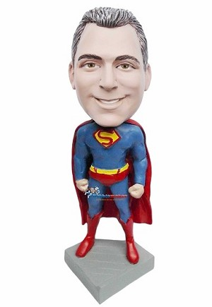 Custom Bobble Head | Arms At Sides Superman Bobblehead | Gift For Men