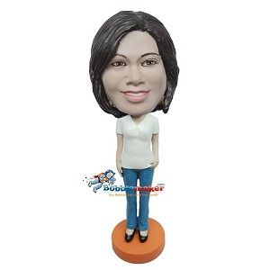 Female In T-Shirt And Jeans bobblehead Doll