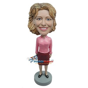 Woman In Office Attire bobblehead Doll