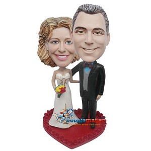 Arms Around Each Other Retro Wedding Couple bobblehead Doll
