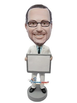 Doctor Holding Sign bobblehead Doll