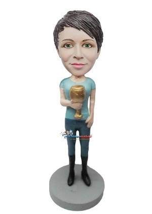 Custom Bobble Head | Female With Golden Goblet Bobblehead | Gift Ideas For Women